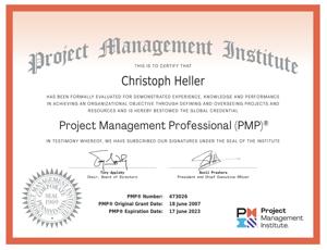 Christoph Heller PMP certificate